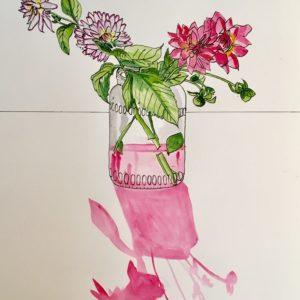 Flower drawing pink art ink watercolour dahlia art artwork wallart botanical