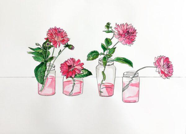 Dahlias flower picture drawing ink watercolour art artwork original